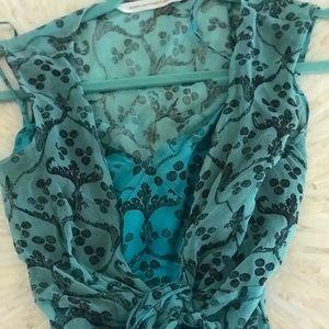 DVF two piece silk dress with satin slip under it
